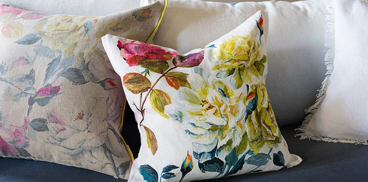The Cushions with floral designs printed on linen and cottons.