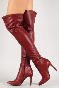 Breckelle Leatherette Stiletto Pointy Toe Thigh High Boot
