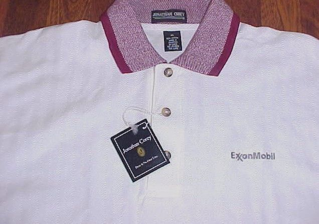 Jonathan Corey Exxon Mobil Men White Purple Collar Cotton Polo Shirt XL New #JonathanCorey #PoloRugby