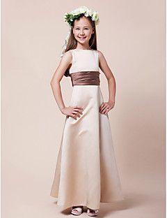 Lanting Bride® Floor-length Satin Junior Bridesmaid Dress A-line / Princess Bateau Natural with Sash / Ribbon / Ruching – USD $ 69.99