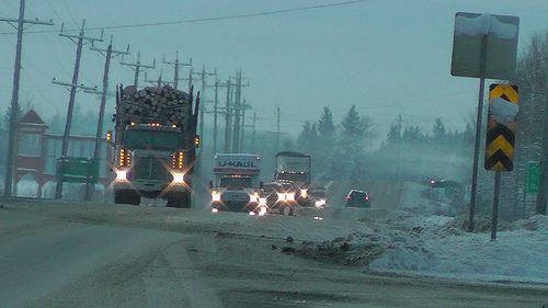 CVSE and RCMP teamed up for a joint #BCHwy16 road check inspection in #Vanderhoof #BC on Dec 14, 2012.