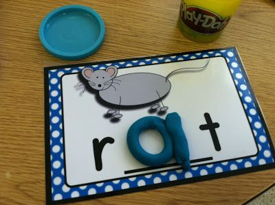 CVC Playdoh Mats- Students create the vowel sound with play-dough!  Hands on learning!