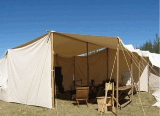 Dining fly with split end wall camping medieval style for Canvas tent fly