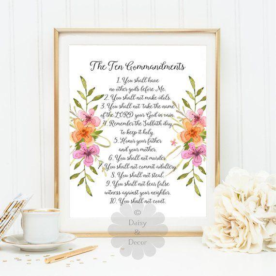 Ten Commandments Bible Verse Typography Poster Scripture Print Wall Decor 10 Commandments Christian Scripture Scripture Art Gift Scripture Art Typography Poster Bible Verse Typography