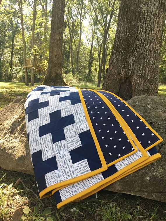 Plus Quilt / Navy and White Quilt / Baby Quilt Modern