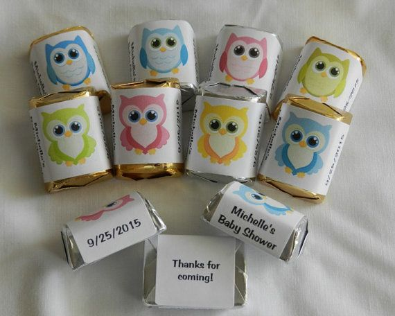 30 Unique Personalized Owl Baby Shower, Birthday Hershey's nugget labels, candy wrappers on Etsy, $4.95
