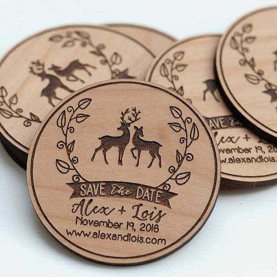50+ Rustic Love Deer Save the Date Magnets - Wedding Favors - Gift Tags - Laser cut and Etched on Wood