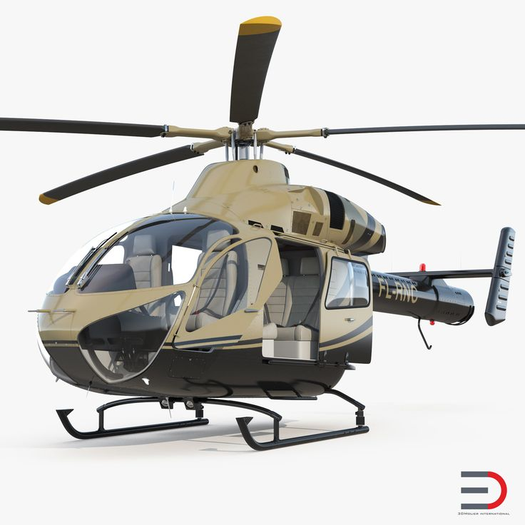 3D model Light Private Jet Helicopter MD 902 Explorer Rigged