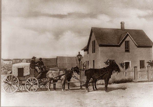 A stagecoach at Dodge City, Kansas. From the late 1800's.