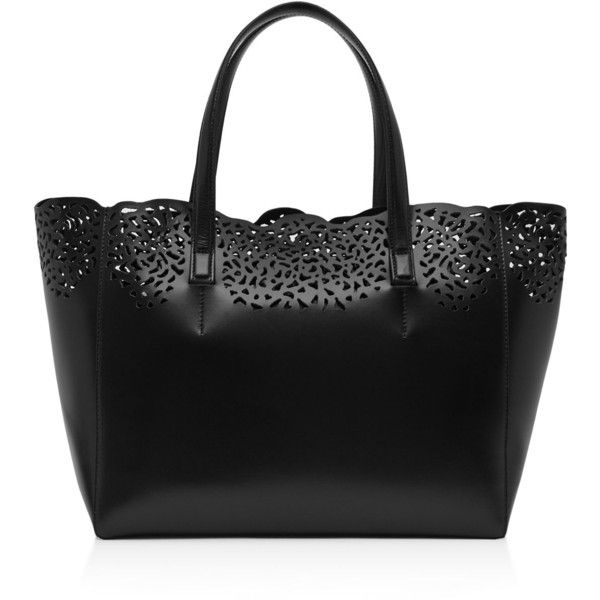 Reiss Hollie Laser Cut Leather Tote ($425) ❤ liked on Polyvore featuring bags, handbags, tote bags, black, tote purses, laser cut tote, leather handbag tote, perforated leather handbags and genuine leather purse