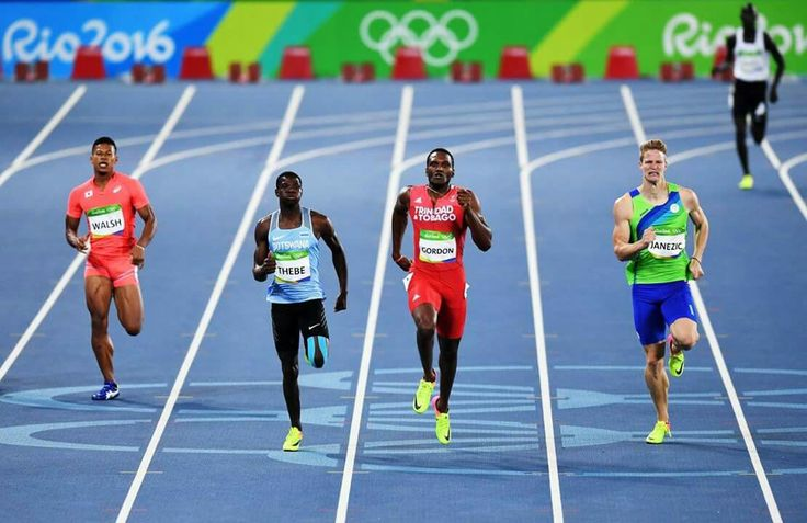 RIO DE JANEIRO, BRAZIL - AUGUST 12: Julian Jrummi Walsh of Japan, Baboloki Thebe of Botswana, Lalonde Gordon of Trinidad and Tobago and Luka Janezic of Slovenia competes during the Men's 400m Round 1 on Day 7 of the Rio 2016 Olympic Games at the Olympic Stadium on August 12, 2016 in Rio de Janeiro, Brazil. (Photo by Quinn Rooney/Getty Images)