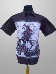 Baju Batik Kombinasi Tulis Pria Modern Motif Wayang Kode KT 32 Kirim SMS ke 082134923704