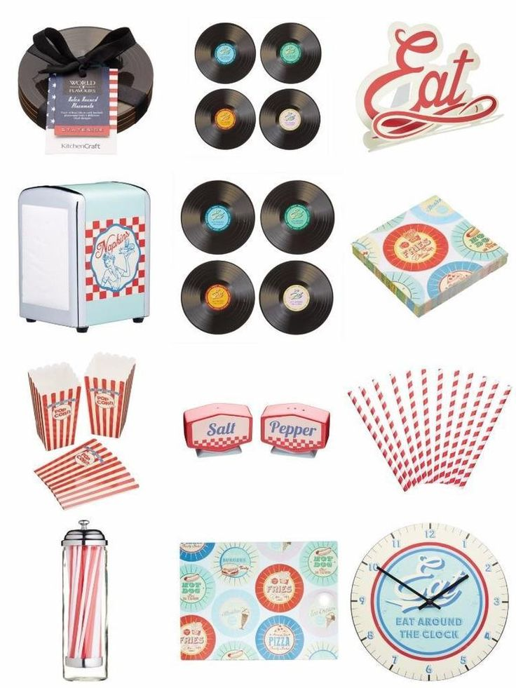Retro American Diner Theme Choose From Vinyl Record Costers Placemats Dispenser | eBay