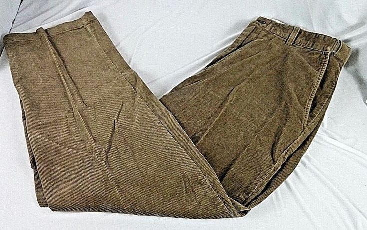 Croft Barrow Mens Corduroy Pants 36 x 32 Brown Comfort Expanded Waist Flat Front #CroftBarrow #Corduroys