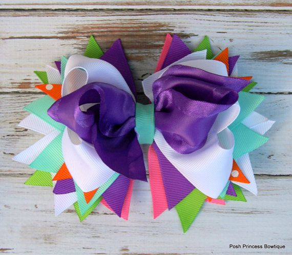 Girls hair bows Purple White Headbands Hair por PoshPrincessBows1