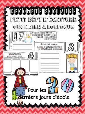 DÉCOMPTE FIN D'ANNÉE - ÉCRITURE Faites un décompte des 20 jours d'école avec vos élèves de façon originale! Que ce soit pour le travail du matin, pour de l'enrichissement ou à n'importe quel moment de la journée, laissez vos élèves utiliser leur imagination pour compléter leur petit défi du jour. Quelques éléments peuvent être coloriés dans chacune des pages pour les plus rapides.