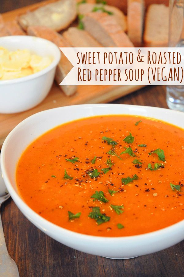 Sweet Potato & Red Pepper Soup | Vegan Recipes from Cassie Howard