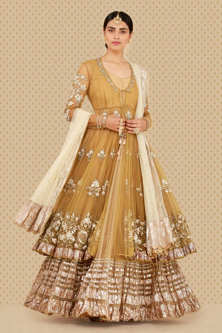 Olive anarkali with Izhar pants & Embellished net dupatta
