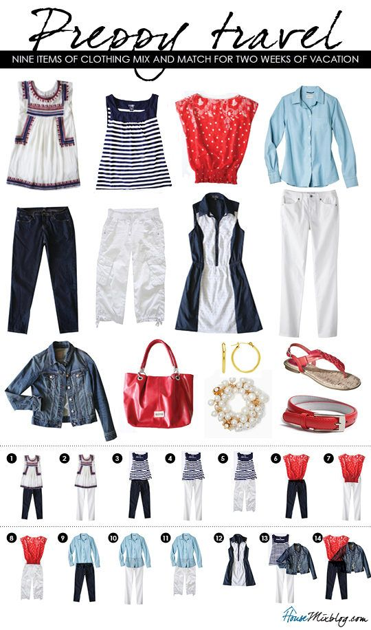 Preppy summer travel clothes. Mix And Match ...
