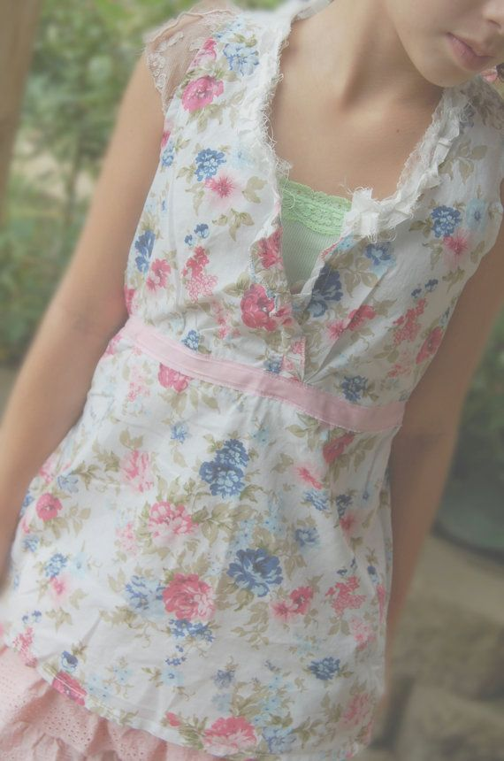 Floral Tunic Top Cotton Womens Clothing Shabby by OfLinenandLace, $38