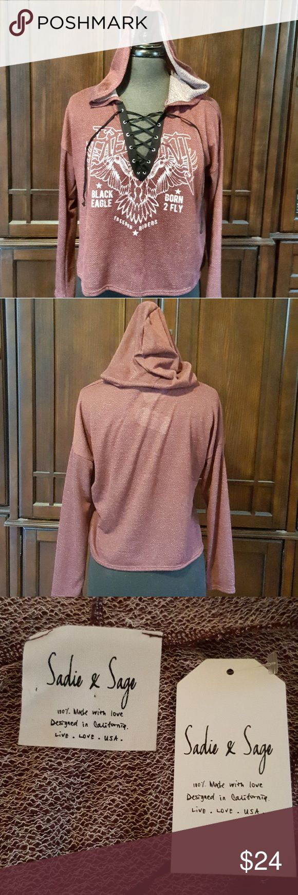 """🌷Sadie & Sage🌷NWT Lace Up Hoodie Trendy lace up style, never worn, Sadie & Sage lightweight hoodie...perfect for the fall season!!  NWT.  Size small.  Approx 20"""" chest (armpit to armpit), 19"""" length.  Burgundy in color.  Make an offer or bundle!! Sadie & Sage Sweaters"""