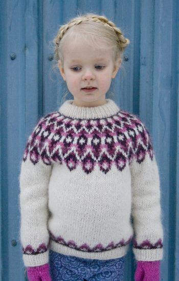 Blossi - Icelandic sweater lopapeysa knitting pattern, sizes 2-8 years: http://www.ravelry.com/patterns/library/blossi-icelandic-lopi-sweater-lopapeysa