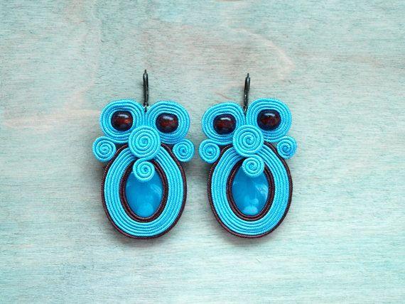 Soutache earrings Blue Brown  Hand embroidered by ShoShanaArt