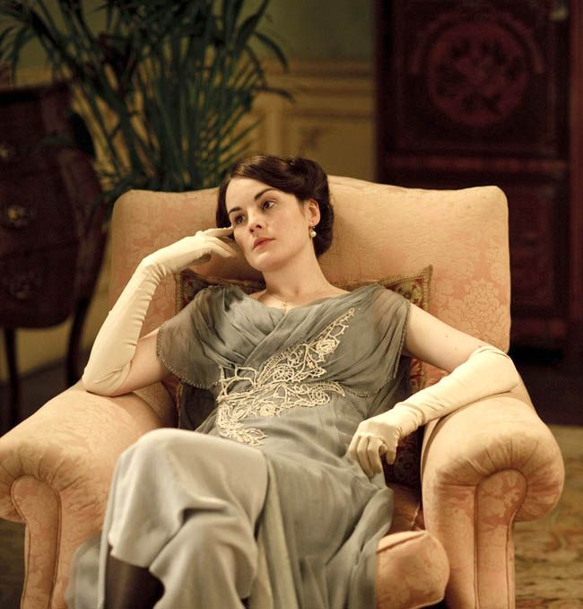 Lady Mary's evening dress -- slate blue chiffon and crocheted lace?