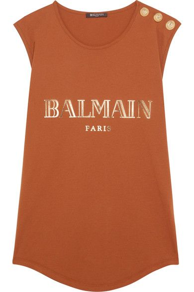 14a0fd31ddf4f4 Balmain - Button-embellished Printed Cotton-jersey Top - Orange Printed  Cotton
