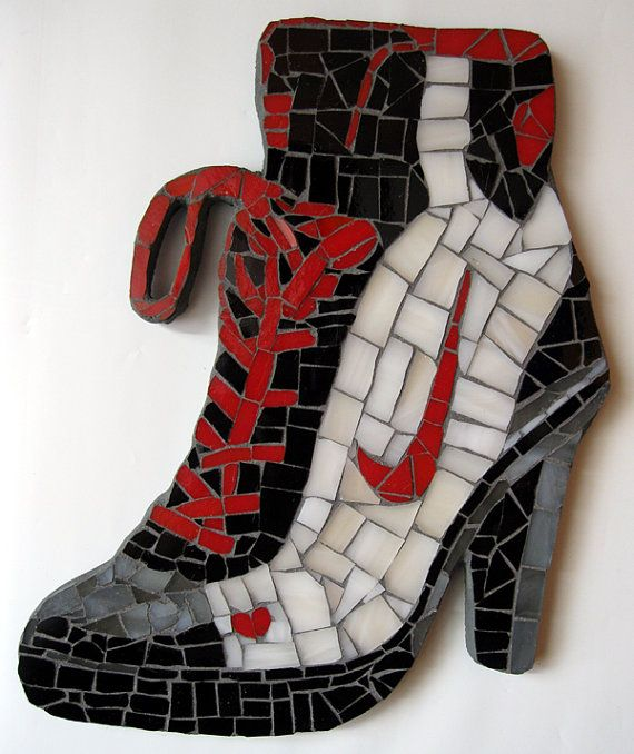 Quirky High Heeled Sneaker Boot Shoe Mosaic Tile Wall Art Stained Glass Shoes Heels Sneakers Boots