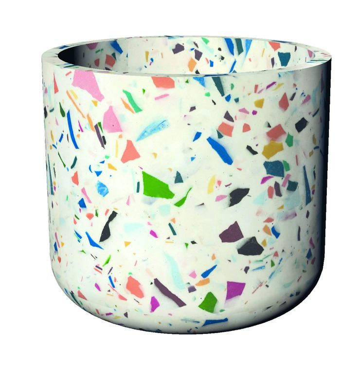 """Add a splash of color to your inside or outside spaces with this cute petite Terrazzo Concrete Planter. Waterproof Materials: Concrete Size: 5"""" (H) Production Time: Please allow 10-12 business days before item is shipped Terrazzo, One Design, Modern Design, Footer Design, Milk Shop, Concrete Planters, Color Splash, Helpful Hints, Flora"""