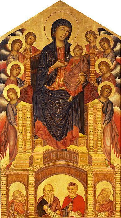 Maesta Of Santa Trinita - Cimabue, original name Bencivieni di Pepo, modern Italian Benvenuto di Giuseppe   (born before 1251—died 1302), painter and mosaicist, the last great Italian artist in the Byzantine style. http://www.britannica.com/biography/Cimabue