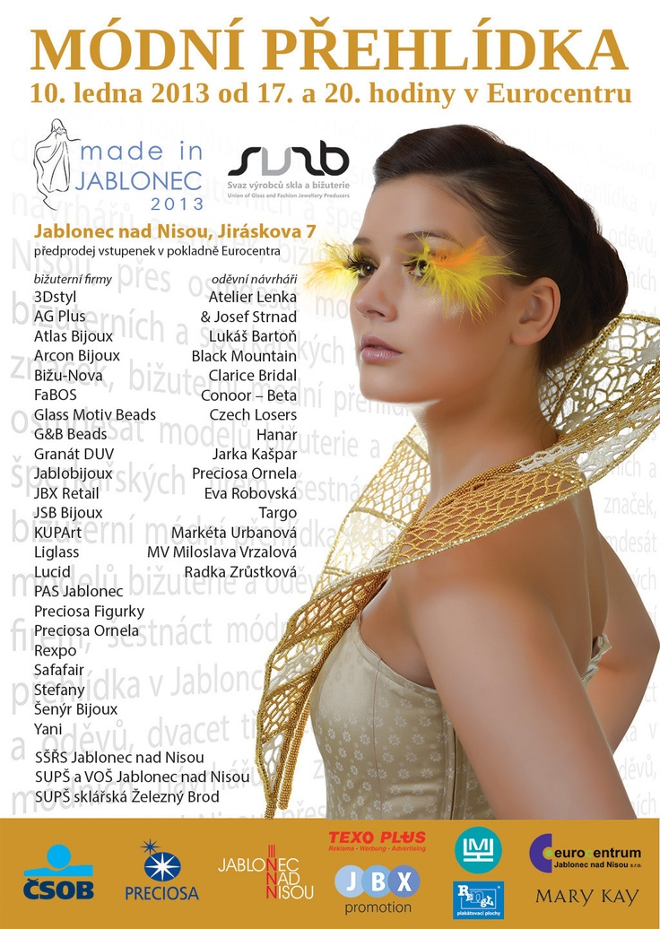 A fashion show of glass jewellery and textile designers  on January 10th http://www.eurocentrumjablonec.cz/akce/program-akci/#news-4080