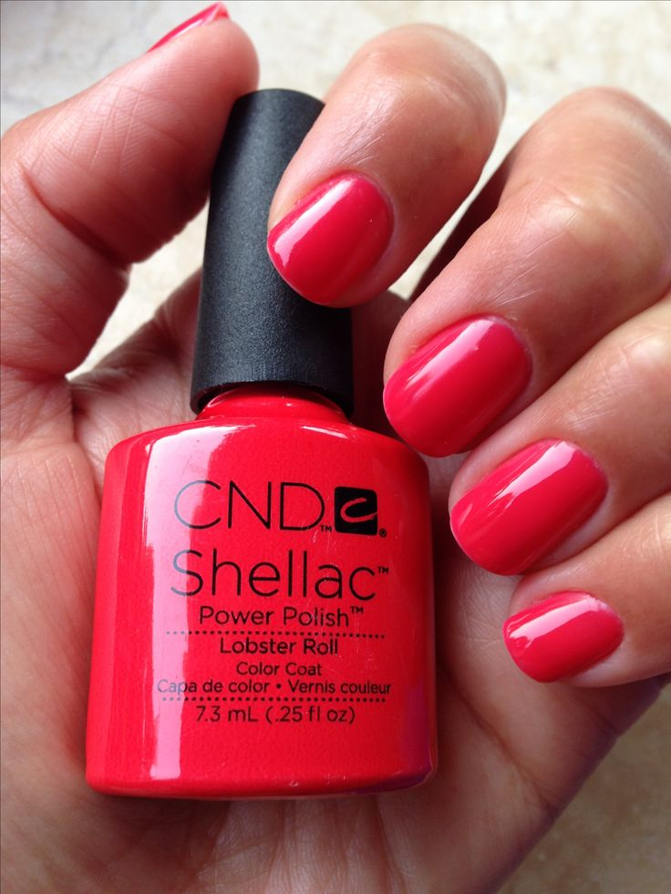 CND Shellac - Lobster Roll. This color looks great on fair skin. My red of choice