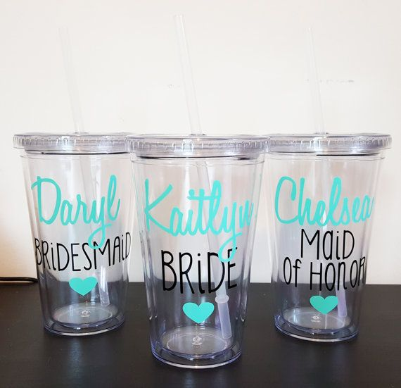 2 Bridesmaid Tumblers Bridesmaid cups by WeddingsByLeann on Etsy