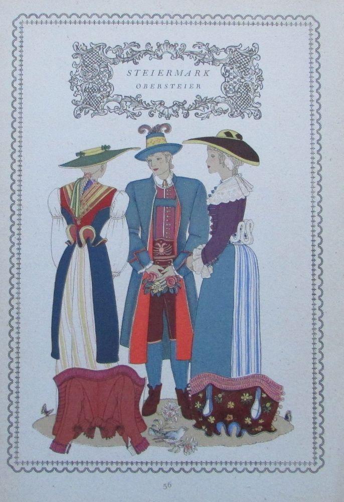 STEIERMARK OBERSTEIER 1937 Alpenländer alter Druck Tracht print national costume