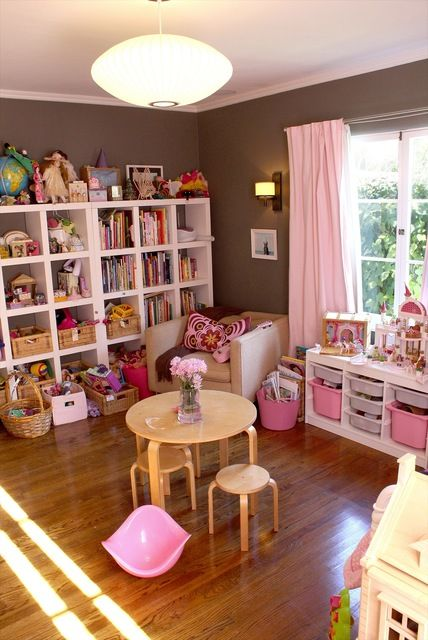 pink playroom.. I need an IKEA way closer to home! I know this is pink but I really need to get one of those big shelf!