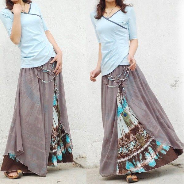 Nepalese sari maxi skirt (Q1106)