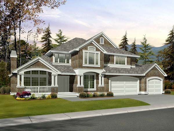 Best Craftsman Style Homes Ideas Images On Pinterest - Craftsman house plans with 3 car garage