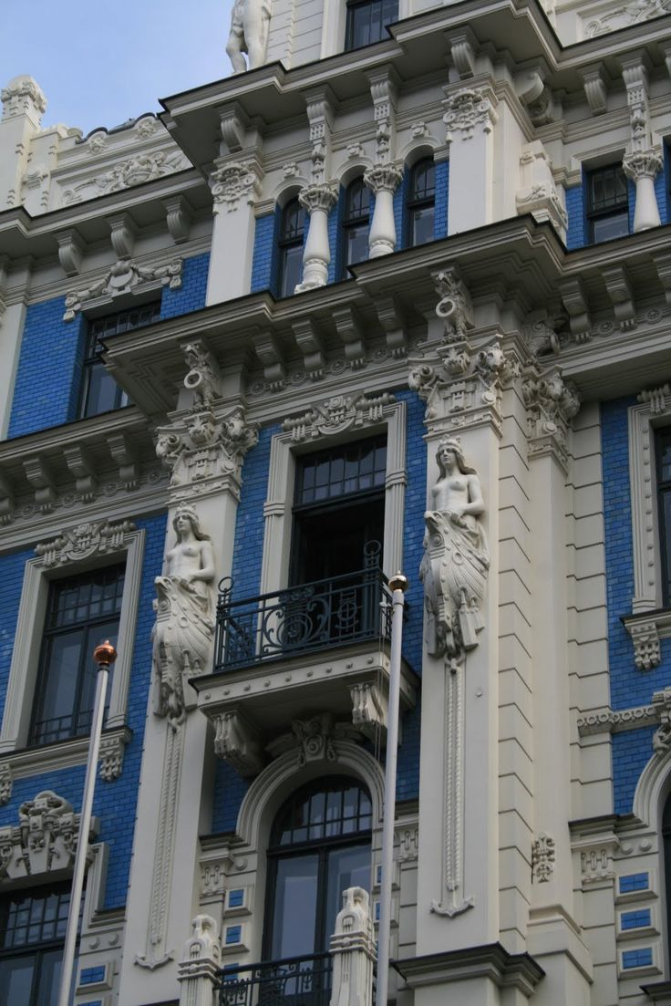 Old building in jugendstyle (Art Nouveau) in Riga, Latvia