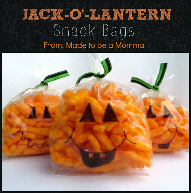 Cute little Snack-O-Lanterns what a simple, inexpensive treat for kids...especially if they have to provide a treat for their classmates! Cheetos, a black Sharpie, black closure and sandwich baggies!!