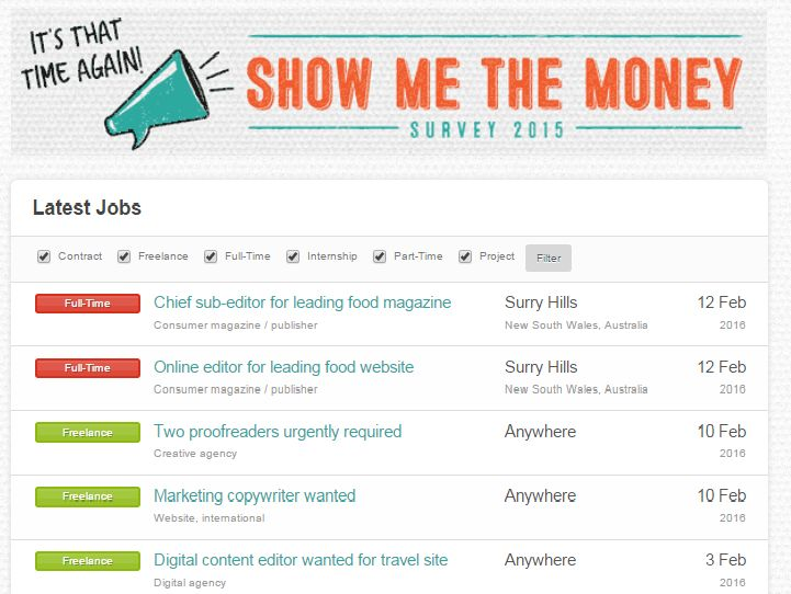New on the jobs board this week, roles for a full-time online editor and a chief sub, both at a leading food website / magazine. Plus, proofreading gigs, a month's work launching a new travel site and much more. http://www.rachelslist.com.au/?page_id=902