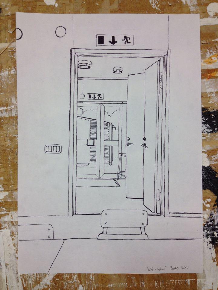 Perspektivritning av Konstskolans hall