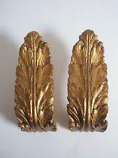 Paar Halterungen für Gardinenstangen Akanthusblätter Metall golden patiniert
