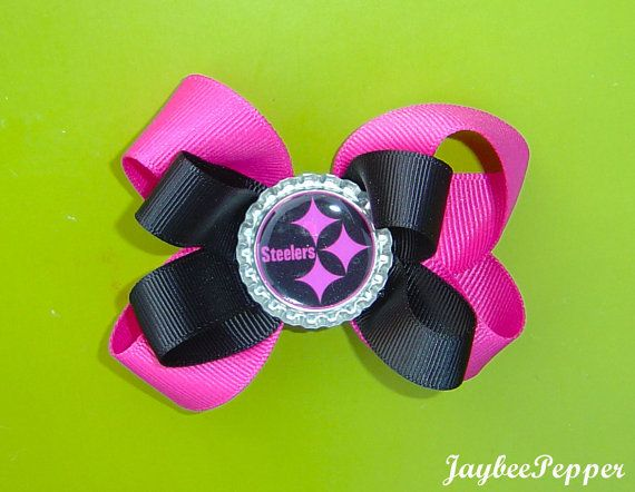 Pittsburgh Steelers Hair Bow NFL bow Football by JaybeePepper, $4.00