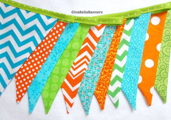 Boy Baby Shower green aqua blue orange fabric banner  these colors are great for A Ready to Pop themed baby shower or MONSTER photo shoot
