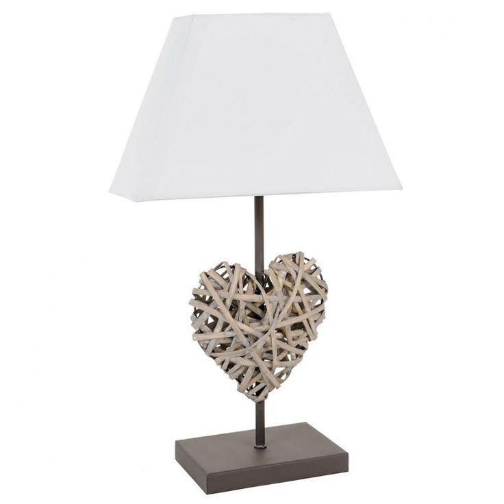 Lampe de chevet Cœur Rotin