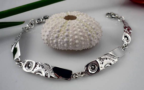 Bracelet femme argent, Bracelet femme, Bracelet, Bracelet argent femme, bracelet en argent 925, texture de coquillages, organique,oursin mer