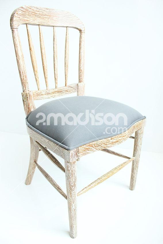 RUSTIC CHIC CHAIR  www.2madison.com  Lengkapi ruangan dengan kursi rustic bergaya vintage berikut, warna pastel dan detail whitewash pada rangka membuatnya terlihat unik dan eksklusif di ruangan Anda.  Designer : Madison  Collection :