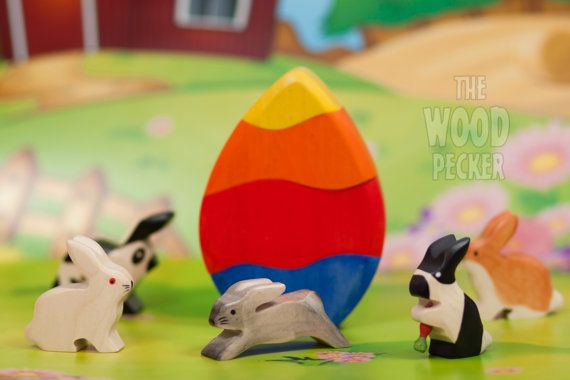 Wooden Toy Bunny Rabbit Set Eco-friendly Wooden Easter Bunnies Easter gift Wood rabbit Wooden Toys Easter egg wooden stacking toy Kids gifts